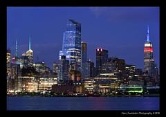 Empire State Building, New York Skyline from Hoboken (Marc Funkleder Photography) Tags: blue light usa newyork building skyline night newjersey dusk lumire manhattan bleu midtown timessquare d750 hudsonriver empirestate bluehour crpuscule nuit immeuble etatsunis heurebleue nikon28300 nikond750