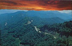 Sunset View Of Us 441, Great Smoky Mountains (SwellMap) Tags: architecture vintage advertising design pc 60s fifties postcard suburbia style kitsch retro nostalgia chrome americana 50s roadside googie populuxe sixties babyboomer consumer coldwar midcentury spaceage atomicage