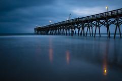 Surfside Beach SC, before sunset (jensrother) Tags: atlantik beach brcke cloudy langzeitbelichtung longexposure perspektive southcarolina strand usa wasser water weitwinkel wolkig surfsidebeach us