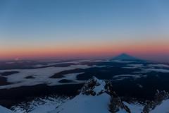 Sunrise Shadow - Mt. Hood (Kevin Attermeier) Tags: shadow snow mountains ice colors clouds oregon sunrise canon dawn volcano or altitude climbing cascades mthood mountaineering climbers 5dmkiii