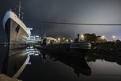 Queen (ATOM1_Productions) Tags: ocean california ca sky history beach water cali skyline night lights pier boat lowlight long ship waterfront outdoor sony wideangle scene submarine historic queen socal nightscene 12mm marry nightshooter rokinon sonya7ii