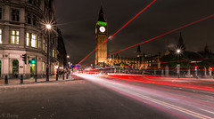 London (nigel.barry22) Tags: road london westminster night cityscape housesofparliament bigben lighttrails whitehall