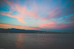 cotton candy clouds over 604 (Sonika Arora 604) Tags: city pink blue summer canada mountains beach nature water beautiful beauty colo skyline vancouver clouds reflections landscape outdoors nikon downtown waves ship shadows bc natural outdoor britishcolumbia naturallight citylights spanishbanks summertime blueskies col tanker summernights westvancouver pinkclouds vancity downtownvancouver landscapephotography beautifulbc nikonphotographer nikonphotography nikonphotographers explorebc explorecanada explorevancouver