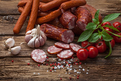 smoked sausage and vegetables (igorpalamarchuk) Tags: closeup cold meal sausage barbecue delicious white red snack grill garlic gourmet vegetable eat wood tomato tasty up smoked close wooden food meat rustic