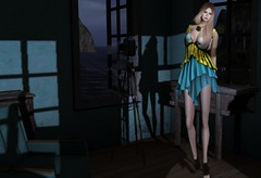 Moonlight Capture (Jamee Sandalwood - Miss V SWEDEN 2015) Tags: envogue event art artphotography blog blonde blogger blogged beach night midnight moonlight moonlit moon yellow teal flower ship model lavian virtual pixel fashionartphotography fashion fashionart 500v20f