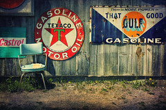 Pit Stop (sminky_pinky100 (In and Out)) Tags: red rural wooden crossprocessed novascotia garage textures colourful gasoline canning vintagesigns oldchair gasstop omot cans2s exhibitionoftalent masterclassexhibition mastclasselite