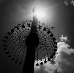 Flying High (Photomikro) Tags: blackandwhite bw monochrome clouds contrast airplane carowinds windseeker iphone5 iphoneography xnretro