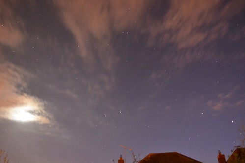 Moon, clouds, Gemini & Auriga