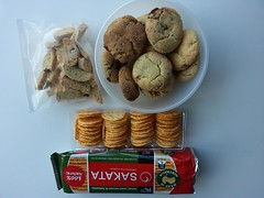 Nate's homemade Snickerdoodle cookies, Su-Lin's biscotti, Lakshmi's rice crackers (avlxyz) Tags: work office cookie fb chocolate biscuit snickers peanut biscotti morningtea snickerdoodle snickersstuffedsnickerdoodles