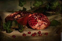 pomegranate (Natalia Larina) Tags: red stilllife food beautiful fruit vintage painting pomegranate fresh