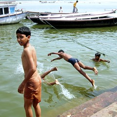 The Essence of Childhood (pallab seth) Tags: people india playing childhood swimming river children colours culture varanasi dailylife bathing ganga ganges banaras pallabseth joyjoyofsharing
