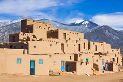 The Taos Pueblo (Michael Deleon Photo) Tags: winter people favorite snow mountains newmexico architecture buildings unitedstates historic nativeamerican adobe rockymountains taos taospueblo