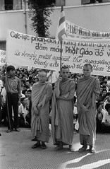 U1391306 (Tan Hiep) Tags: people men sign holding asia southeastasia vietnamese asians buddhist text religion group banner monk vietnam males adults saigon hochiminhcity protester youngadults politicalandsocialissues englishtext southvietnam southeastasians youngadultman vietnamesetext southeastregion