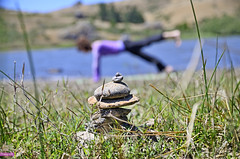 Focus on balance (roijoy) Tags: water grass yoga stone pose rocks exercise stretch reservoir pile balance practice plank blades positioned