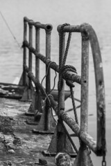 Port Side Railing (sullivan1985) Tags: abandoned port river boat rust rusty ropes newark railing passaic