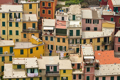 Houses Patchwork (dirac3000) Tags: pink houses orange yellow architecture buildings europe italia rooftops liguria cinqueterre vernazza ghesemmu