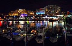 Night reflections at Darling Harbour (missgeok) Tags: lighting city water colors night composition reflections boats lights mood cityscape nightlights colours nightshot angle harbour sydney creative restaurants atmosp