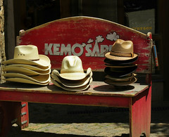 Kemosabe (Colorado Sands) Tags: hats mens apparel westernhats kemosabe vail colorado rockymountains rockymountainhigh bench woodbenches eaglecounty us americanwest america usa sandraleidholdt westernclothes mountainstowns fashion style stacked smokesignals selection forsale americana