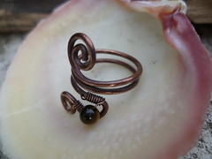 Recycled copper toe ring weaved with Tigers Eye (spiralcraft) Tags: summer beach wire toe recycled spirals turquoise rustic ring copper swirl pearl minimalist weaved wirewrapped