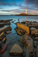 Last Light Lighthouse (Explored) (Danny Birrell) Tags: longexposure light sunset sea sky lighthouse seascape wet clouds canon landscape coast movement rocks tamron whitleybay stmaryslighthouse coastallandscape tamron1750f28 canon40d haidapro10stopfilter