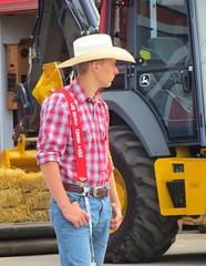 (ManontheStreet2day) Tags: calgary hat cowboy hunk crotch jeans bluejeans suspenders stud johndeere bulge wrangler suspendersboy