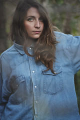Violante (Yukiko Photographer) Tags: wood blue portrait woman girl eyes woods jeans denim