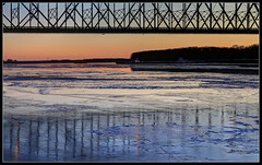 Downstream (ioensis) Tags: bridge winter sunset ice river mississippi bay quincy illinois stream december down downstream 2013 48992004068tmf1b