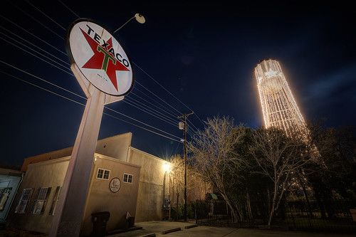 Texaco Sign and Round Rock Tower