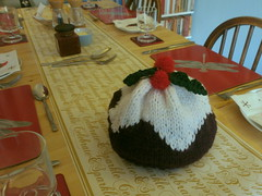 Believe it or not, I made this Christmas Pudding hat, 24 Dec 13 (Castaway in Scotland) Tags: christmas england pudding olympus knitted carlisle d700