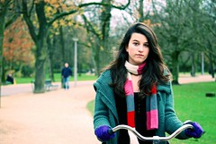 Amsterdam Bike Girl (Lou Morgan) Tags: park city holland netherlands girl amsterdam bike bicycle scarf cycling model europe release teen teenager leisure striped released vondel teenage modelreleased