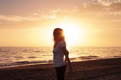 the principles of heaven and earth (Carla Gómez-Raggio) Tags: sunset sea woman selfportrait girl atardecer mar mujer sand chica flare autorretrato contemplative selfie pensativa