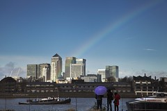 Pot of Gold at Canary Wharf v 2 (Jo Evans1 - still trying to catch up!) Tags: people london gold rainbow colours pot wharf matching canary