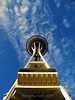 Up the Needle (Shutterbug Fotos) Tags: seattle blue sky up clouds spaceneedle picturesque seattlecenter top20blue