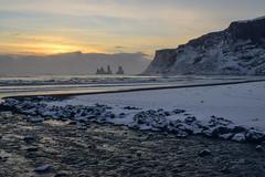 DSC_0827 (XJ220RACER) Tags: ocean winter sunset cliff snow beach clouds blacksand is iceland shoreline atlantic shore sland vk reynisfjara southiceland reynisfjall vkmrdal reynisdranga
