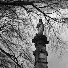 . (Andy Stafford) Tags: tree cemetery grave statue leicester hc ilford fp4 163 welfordroad ilfotech