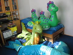 Sea Dragon first inflation (Arambajk) Tags: pool up toy dragon blow collection inflatable float seadragon blowup inflatables nessie drak pooltoy hraka puffypaws nafukovac