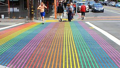 Rainbow pedestrian crossing (Eduardo Ruiz M.) Tags: sanfrancisco california street gay color outdoors rainbow crossing running pride castro runner xing