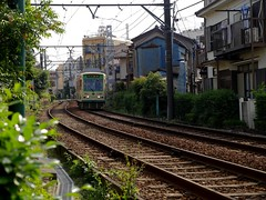 The Approach (CentipedeCarpet) Tags: old lines japan architecture train four tokyo tracks trains panasonic micro   thirds urbex toden  gx8