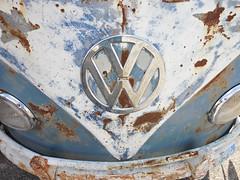 VW Bus (kenjet) Tags: old blue bus car vw truck vintage logo rust rusty front bumper van camper vanvw busvw vanlove busvolkswagenhippie