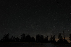 Stars on the Mountain (JustinMullenPhotography) Tags: trees sky mountain mountains nature silhouette night clouds dark stars outdoors star natural outdoor space astro astrophotography wilderness outerspace