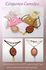 Colgantes camafeo (eiencreaciones) Tags: handmade fimo colgantes netting perlas hechoamano arcilla rocallas camfeo