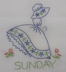 Embroidered Flour Sack Towel (judy_jowers) Tags: colonial towel days week sack flour dame embroidered