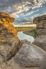 Teach Me (Wayne Stadler Photography) Tags: park travel camping sunset canada rock rural countryside afternoon country places roadtrip explore alberta sacred aboriginal prairies prehistoric formations writingonstone provincial writings southernalberta