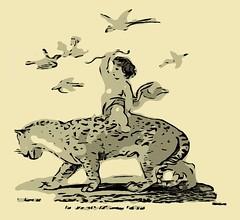 Riding Vectorized Leopards 1 (sjrankin) Tags: boy birds animal illustration edited library historic riding leopard cherub vector britishlibrary vectorized 29may2016