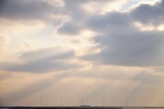 DSC_1263 [ps] - Broomfield (Anyhoo) Tags: uk winter england cloud mist tower coast suffolk haze cloudy horizon spray coastal shore sunburst rays masts aldeburgh crepuscularrays aerials lowsun orfordness slaughden anyhoo photobyanyhoo