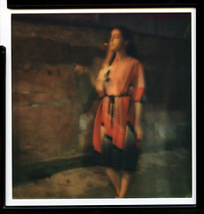 # (gde to tam) Tags: portrait woman color slr film girl 30 female project painting polaroid sx70 colorful dress russia mint petersburg smoking impressionism instant impossible   impossibleproject  slr670