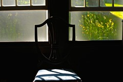 Cold Nights and Morning Warmth (smilla4) Tags: morning window chair shadows bokeh maine silhouettes goatsbeard mainecottage