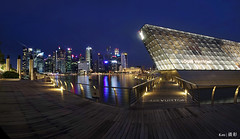 Blue Hour @MBS Boardwalk (Ken Goh thanks for 2 Million views) Tags: lighting longexposure blue sky cloud reflection water colors night marina landscape photography bay pentax district central smooth sigma wideangle business hour boardwalk cbd sands 1020 lv mbs k1 panoromic