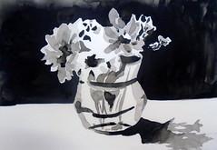 Flowers, in B&W, by Mrcia - DSC03200 (Dona Mincia) Tags: bw stilllife flower art watercolor painting table arte flor pb negativespace vase mesa vaso pintura aquarela naturezamorta