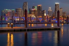Miami Pop (karinavera) Tags: new city longexposure travel blue sky urban night marina lights downtown cityscape florida miami dusk realtor macarthurcswy nikond5300